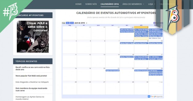 Calendário com várias opções de eventos automotivos